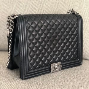 CHANEL Calfskin Quilted Large Boy